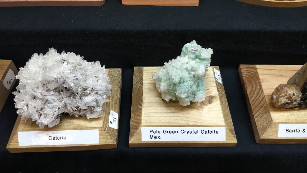 Calcite and Pale Green Calcite Specimens at Springfield Rock Show 2019