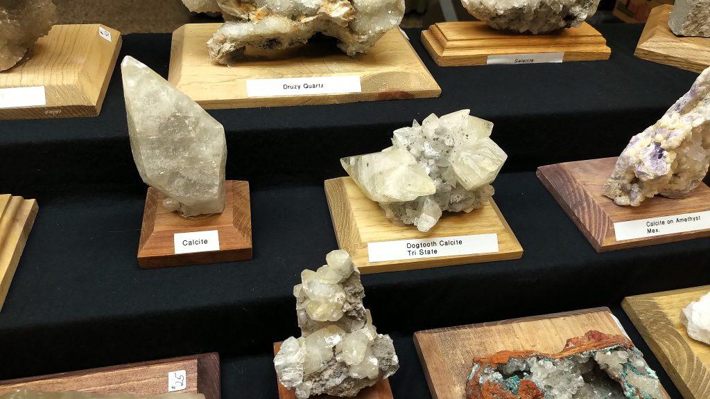 Calcite and Dogtooth Calcite Specimens at Springfield Rock Shop 2019