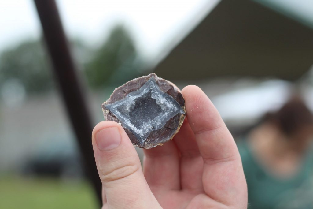 The inside of a dugway geode with diamond formation